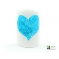 Bubbly heart sconce, teal blue and white, turquoise heart, handmade fused glass, made in uk