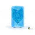 Bubbly heart sconce, sea blues, ocean mix, blue heart, handmade fused glass