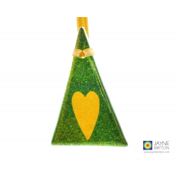 Fused glass Christmas tree decoration, sparkly green with gold heart, handmade fused glass