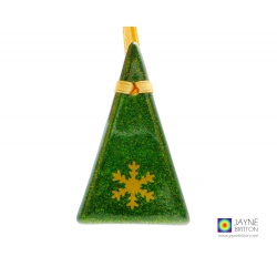 Fused glass Christmas tree decoration, sparkly green with gold snowflake, handmade fused glass