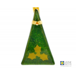 Fused glass Christmas tree decoration, sparkly green with gold holly, handmade fused glass
