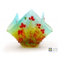 Candle vase, poppy field with bees, poppies, handmade fused glass