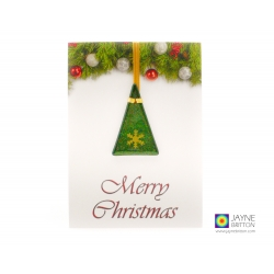 Christmas card with gift, fused glass sparkly green tree with gold snowflake