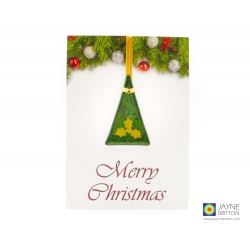 Christmas card with gift, fused glass tree decoration, gold holly, handmade fused glass