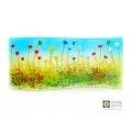 Rainbow flowers curved fused glass panel, handmade, jayne britton