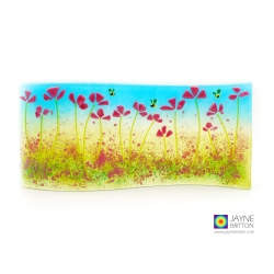 Pink flowers curved fused glass panel, handmade, jayne britton