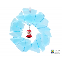 Fused glass christmas wreath, recycled glass with santa charm
