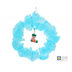 Christmas wreath decoration, christmas stocking, fused recycled glass, xmas ornament