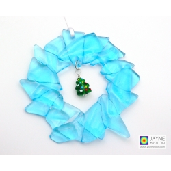 Fused glass Christmas wreath with green xmas tree charm, recycled sapphire blue glass