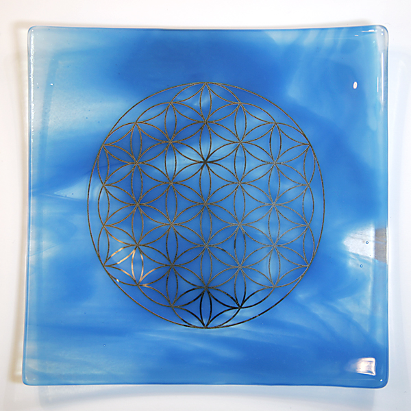 Platinum Flower of life energy balancing glass plate - Water element