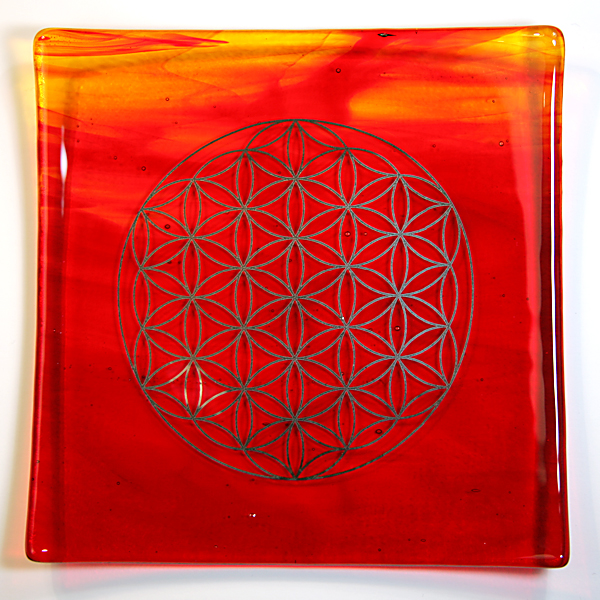 Platinum Flower of Life Energy Balancing glass plate - Fire Element