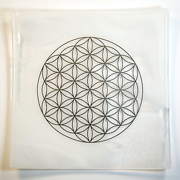 Platinum Flower of Life Energy Balancing glass plate - Air element