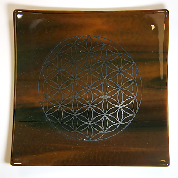 Platinum Flower of Life Energy Balancing glass plate - earth element