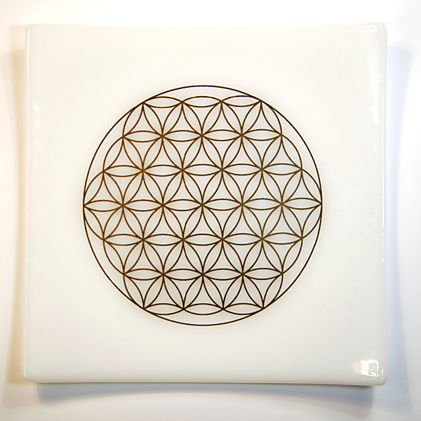 22ct Gold Flower of Life on handmade white glass plate