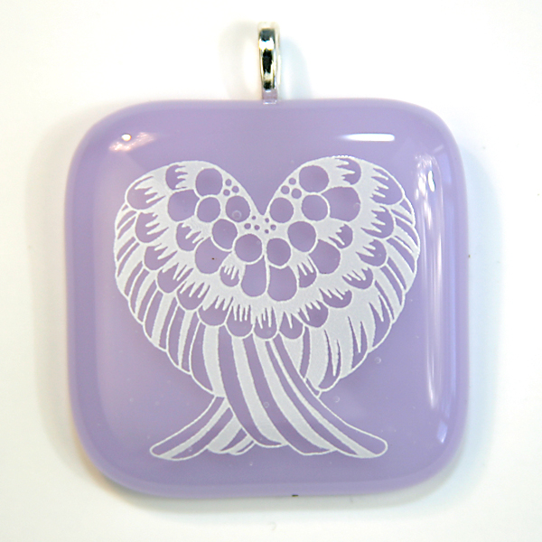 Angel wings on violet, crown chakra, glass pendant