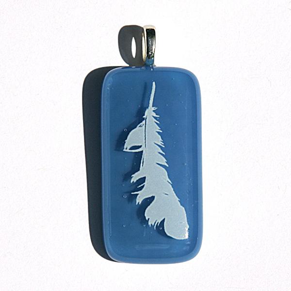 Angel feather pendant on Egyptian blue glass - third eye chakra