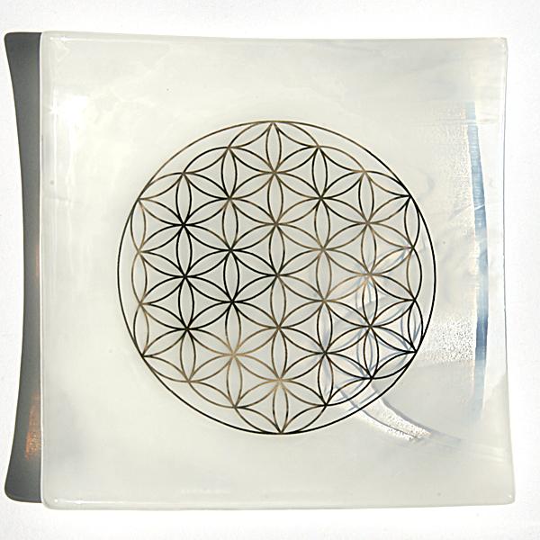 Air element - Platinum Flower of life energy balancing glass plate
