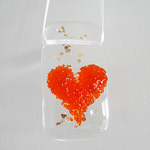 Orange heart light catcher