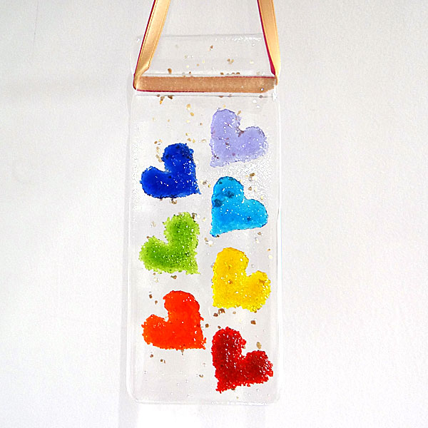 7 chakra hearts light catcher - option 2 - hearts facing outwards