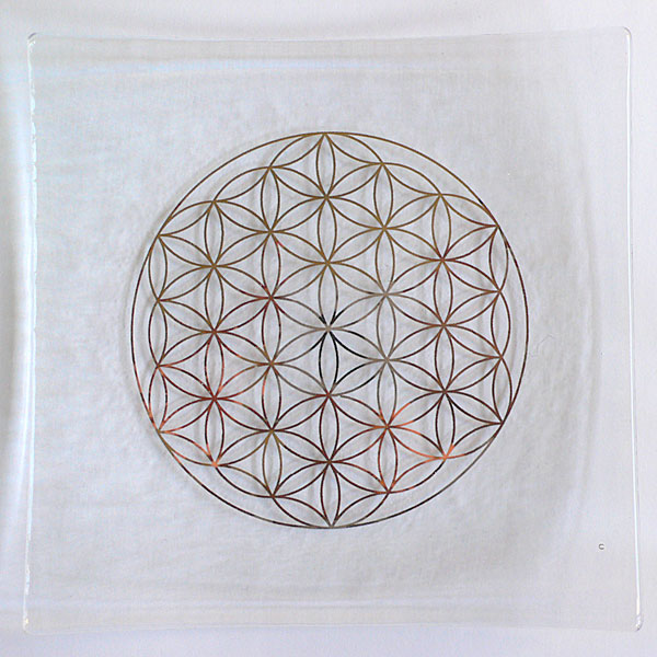 Platinum Flower of Life embedded in a clear glass plate