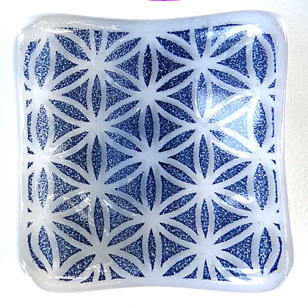 Flower of Life pattern bowl in blue and white