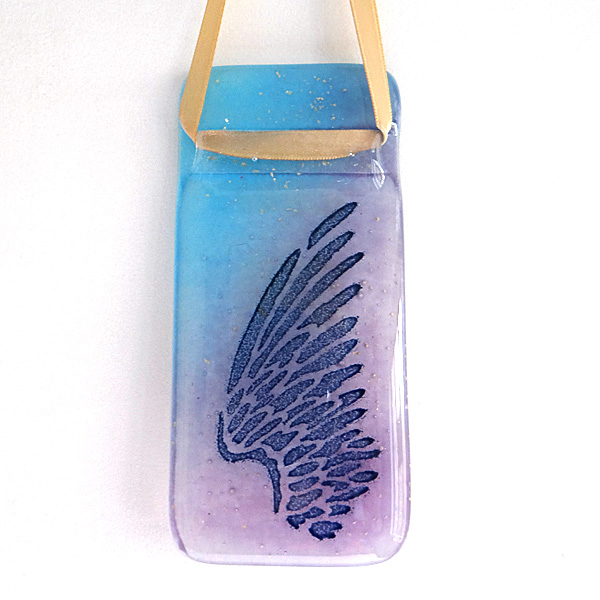 Angel wing light catcher - blue and violet