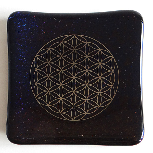 Galactic Platinum Flower of Life handmade sparkling black glass plate