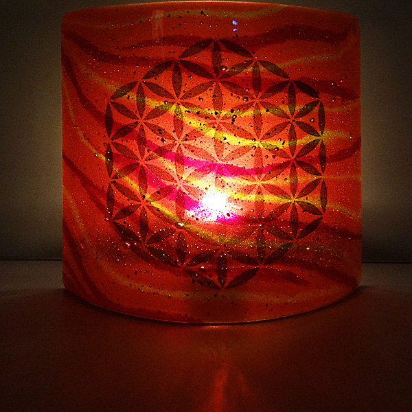 Flower of Life Sconce - light and candle screen