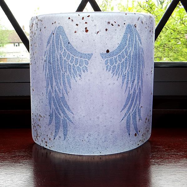 Angel Wings Sconce - small light and candle screen - violet blend