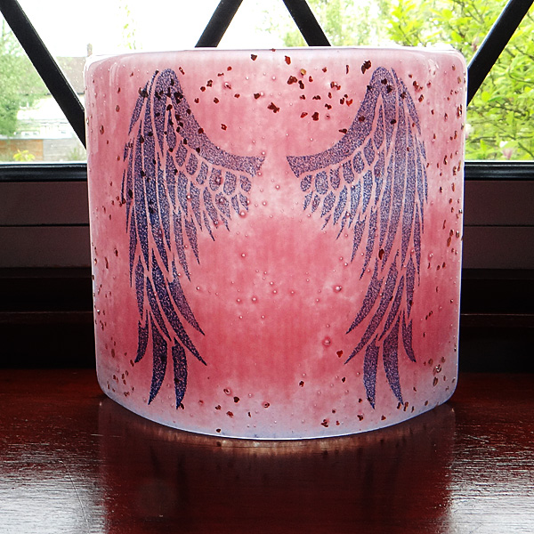 Angel Wings Sconce - small light and candle screen - pink blend