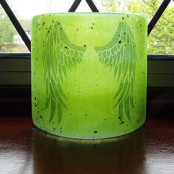 Angel Wings Sconce - small light and candle screen - green blend