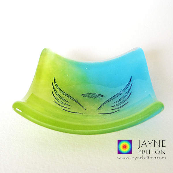 Angel wings bowl in green and blue glass blend