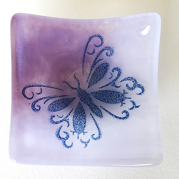 Butterfly bowl in blended purple shades of fused glass