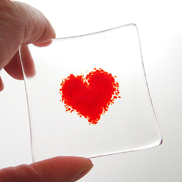 Red heart bowl in clear glass