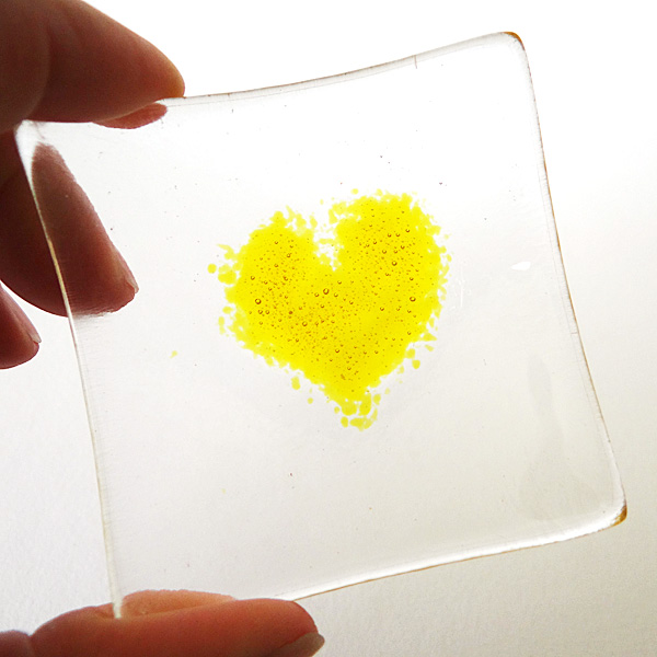 Yellow heart bowl in clear glass