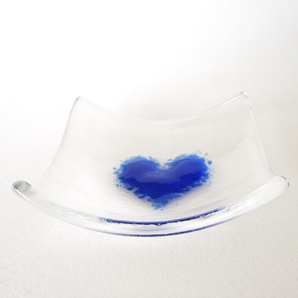Indigo blue heart bowl in clear glass