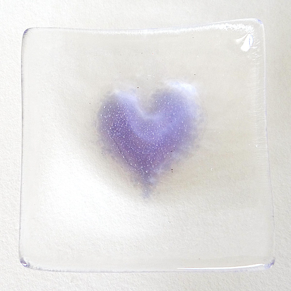 Violet purple heart bowl in clear glass