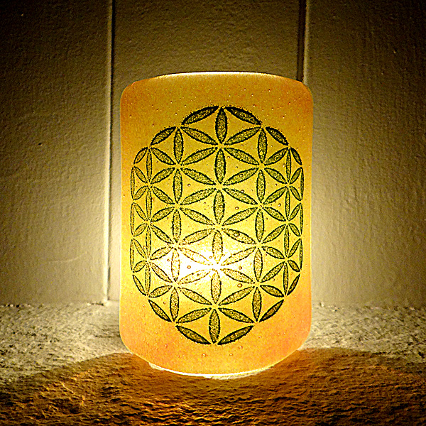 Flower of Life Sconce - mini light and candle screen - orange blend