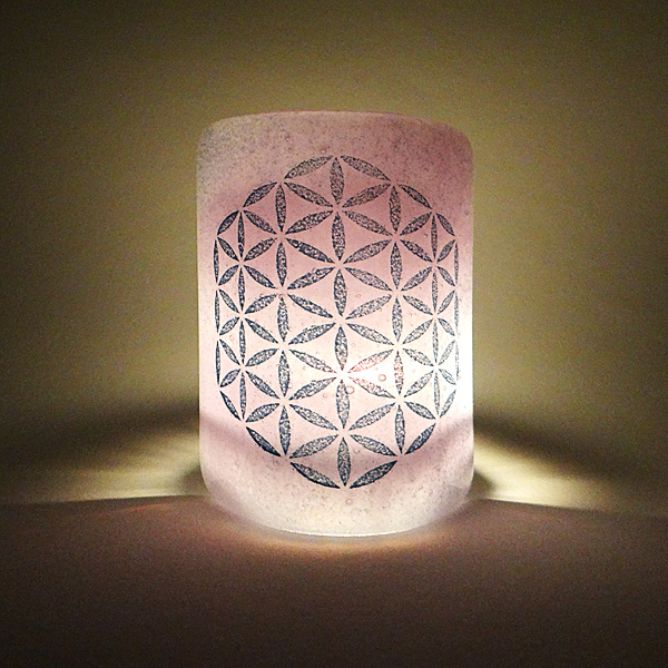 Flower of Life Sconce - mini light and candle screen - violet purple blend