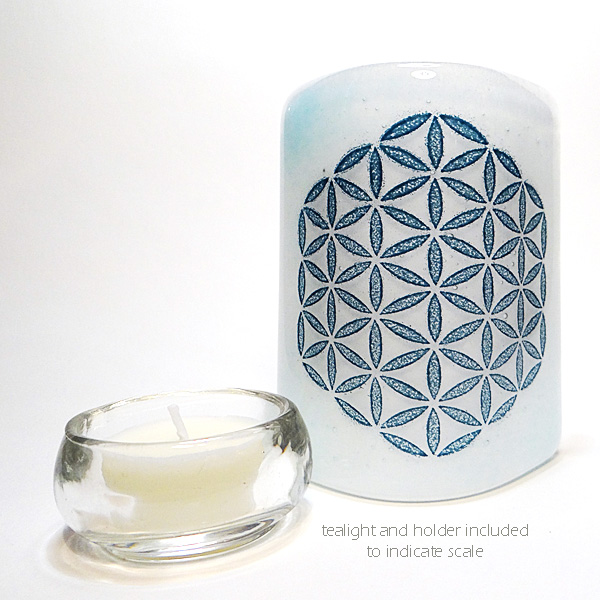Flower of Life Sconce - mini light and candle screen - blue and white blend