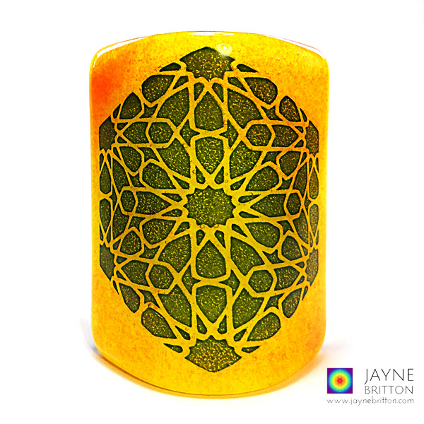Alhambra Stars Sconce - mini light and candle screen - orange and yellow blend