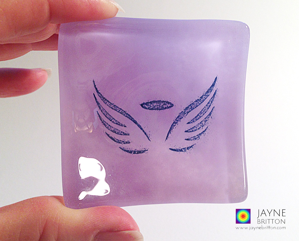 Angel bowl in violet and purple fused glass blend