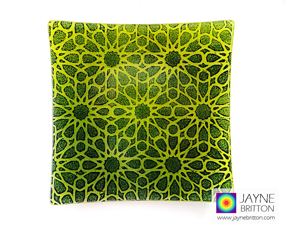 Alhambra Stars plate - green and yellow