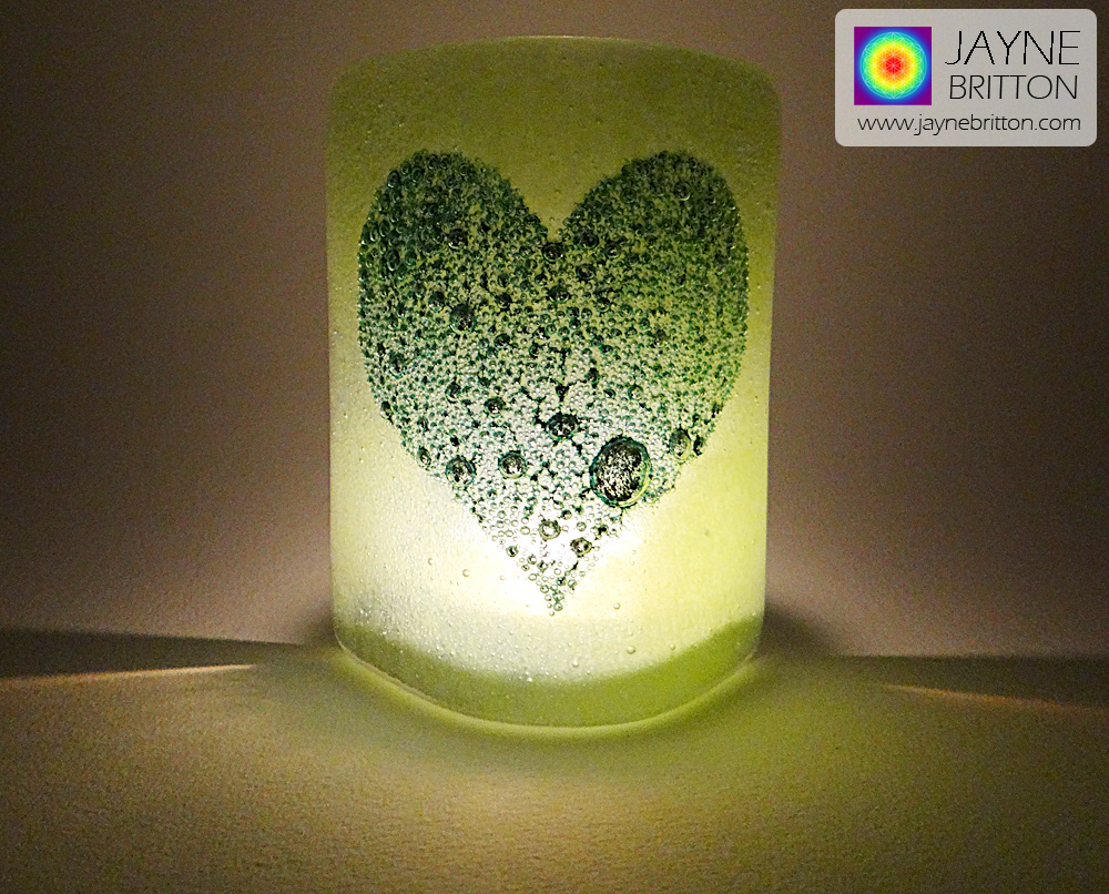 Bubbly Heart Sconce - mini light and candle screen - green blend