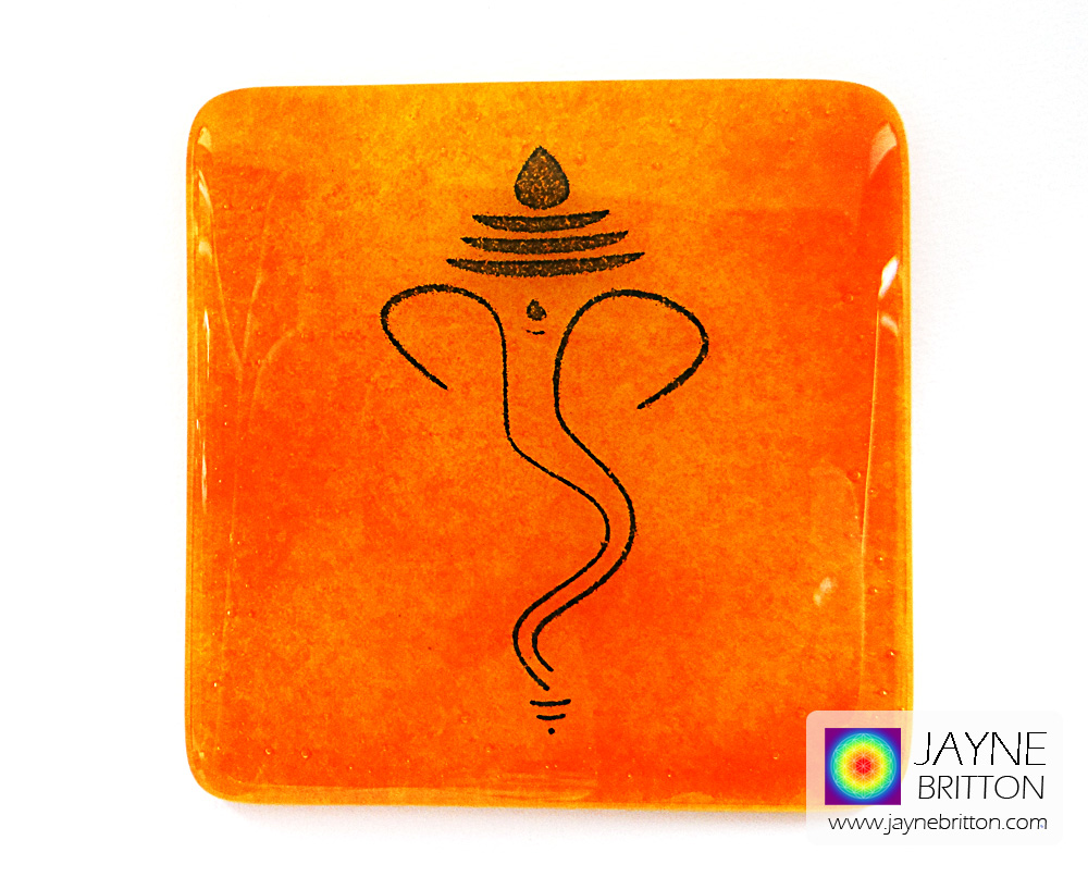 Ganesh coaster - deep blue on yellow and orange blend