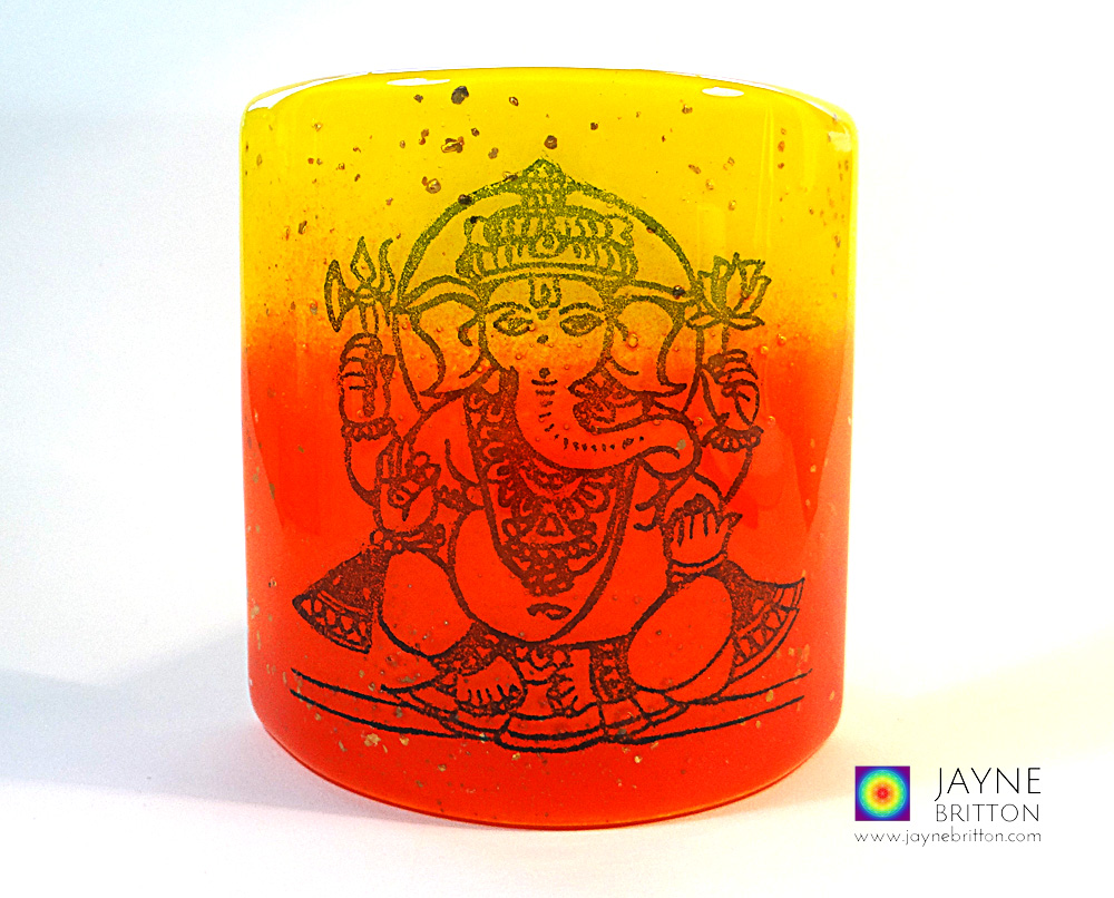 Ganesh Sconce - small fused glass screen - red, orange, yellow