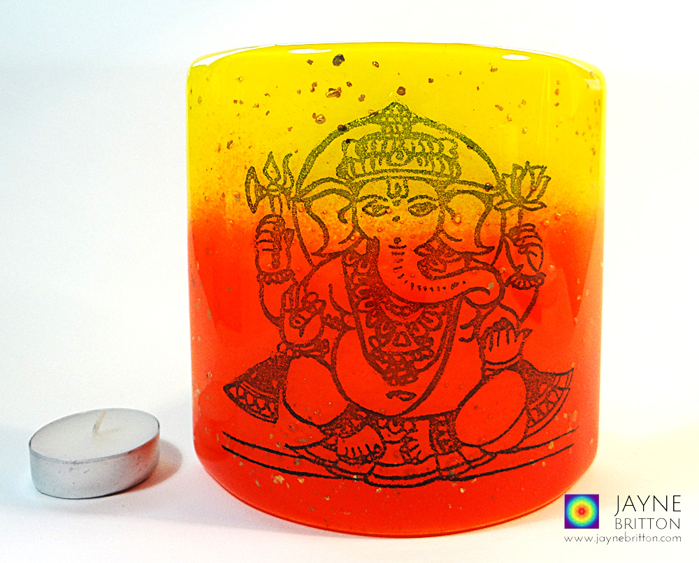 Ganesh Sconce - small fused glass panel - red orange yellow