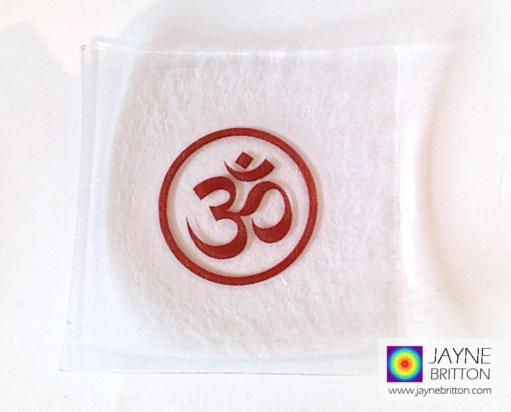 Om symbol fused glass plate