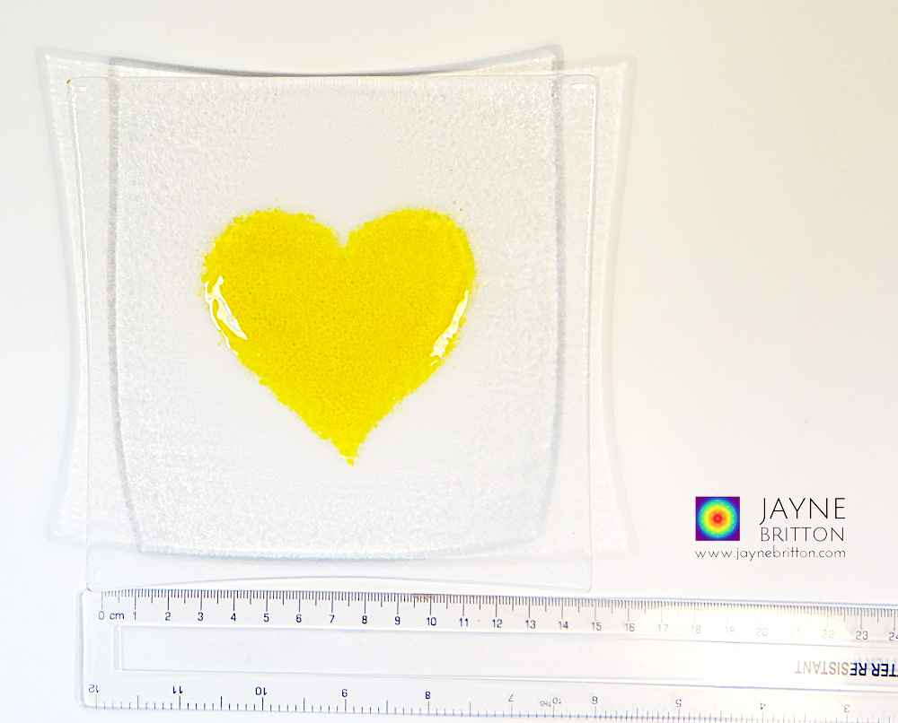 Yellow heart plate, fused glass plate with raised textured yellow heart