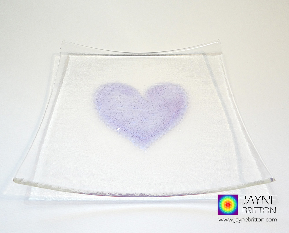 Violet purple heart plate, fused glass plate with raised textured violet purple heart